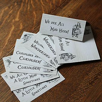 Alice In Wonderland Distressed White Place Cards x 8 Wedding / Party Table Sign