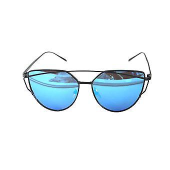 RetroUV® Fashion Women Cat Eye Sunglasses Classic Brand Designer Twin-Beams Sunglasses Lady Coating Mirror Flat Panel