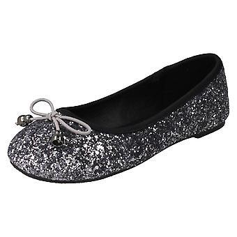 Girls Spot On Glitter Ballerinas H2488 - Silver Glitter - UK Size 10 - EU Size 28 - US Size 11