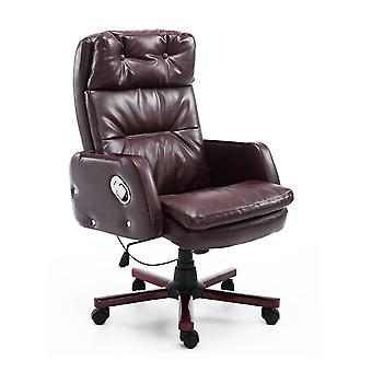 HOMCOM PU Leather Luxury Executive Swivel Office Chair Adjustable Armrest Computer Desk Reclining Arm Seat Gas Lift (Brown)