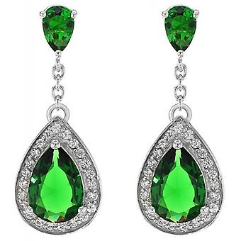 IBB London Teardrop Cubic Zirconia Earrings - Silver/Green