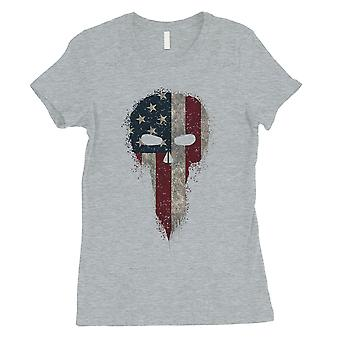 Vintage American Schädel Womens grau T-Shirt Independence Day Shirt