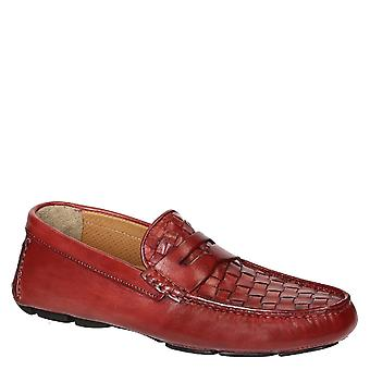 Red weaven leather driving moccasins for men