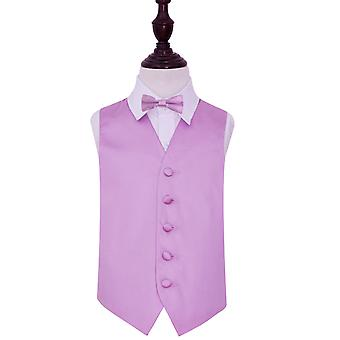Lilac Plain Satin Wedding Waistcoat & Bow Tie Set for Boys