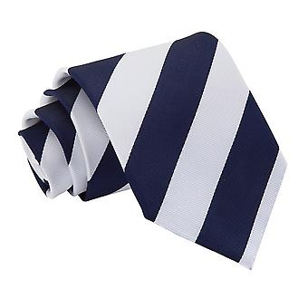 Navy & White Striped Classic Tie