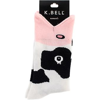Wide Mouth Novelty Crew Socks-Cow
