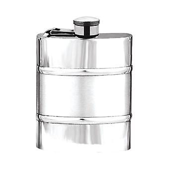 Satin Band Pewter Hip Flask with Captive Top - 6oz