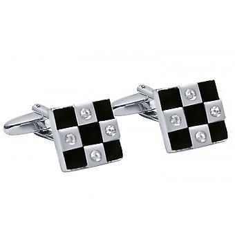 Gemshine - men - cuff links - fire enamel - black - 1.4 cm