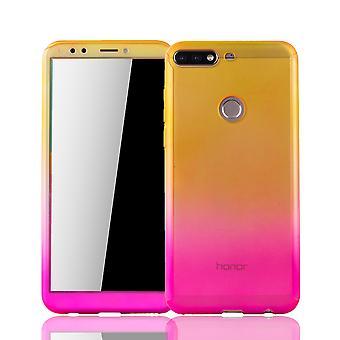 Huawei honor 7C sag beskyttende sag Fullcover tank beskyttelse glas gul / pink