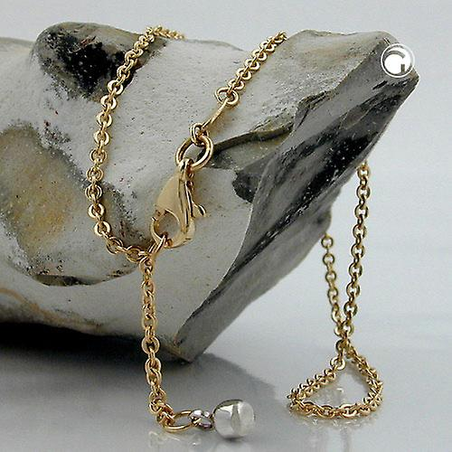 Gold anklets 375 gold chain, anchor chain with end ball, 9 KT GOLD