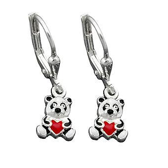 Silberne Ohrhänger PANDA Pandabär mit Herz Brisur Kinderschmuck Silber 925