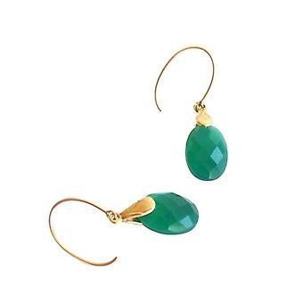 Nogle grøn Onyx øreringe ELKE Guld belagte øreringe med Onyx