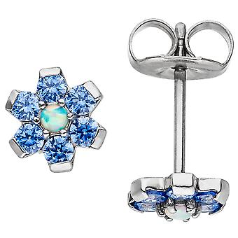 Earrings flower made of stainless steel with Crystal element blue earrings