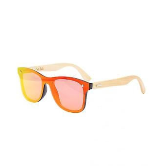 Colin Leslie Unisex Retro Sunglasses Bamboo Arms With Red Lenses