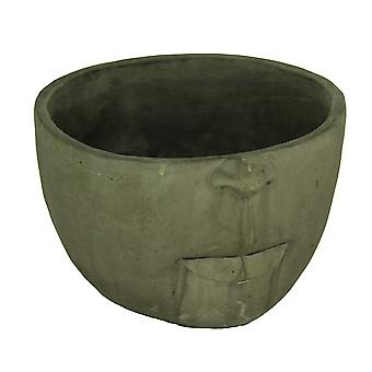 Weathered Dark Gray Finish Sculptural Cement Head Planter