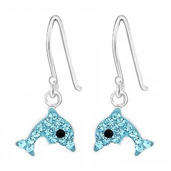 Girls blue crystal dolphin silver hoop earrings