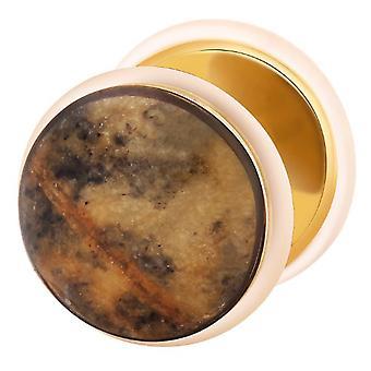 Falso tramposo oído tapón chapado en oro, piedra neto pendiente, joyería del cuerpo,