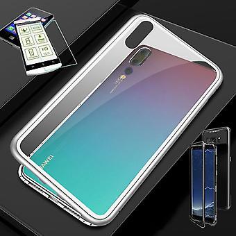 Imán de Huawei honor 8 X / metal / vidrio bolsa caso plata / transparente + 0,26 mm vidrio duro H9