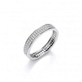 Francés de Cavendish Slim plata y CZ anillo de bodas anillo