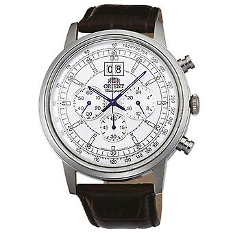 Orient men's elegant watch with genuine leather strap chronograph silver