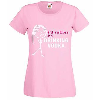 Damene jeg heller drikke Vodka Baby rosa t-skjorte