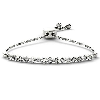 IGI Certified 925 Solid Sterling Silver 0.10 Ct Round Cut Diamond Bolo Bracelet
