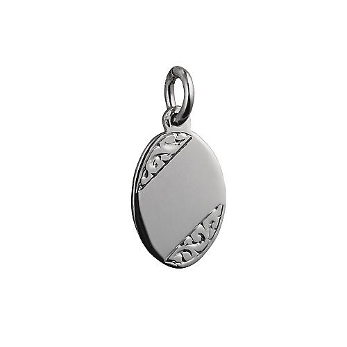 Silver 16x11mm hand engraved oval Disc