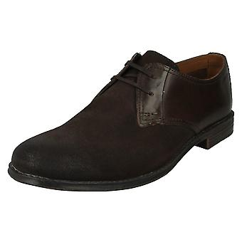 Men's Clarks Casual Shoes Hawkley Walk Dark Brown Combi Size 7.5G