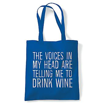 Voices In My Head Drink Wine Funny Tote | Reusable Shopping Cotton Canvas Long Handled Natural Shopper Eco-Friendly Fashion | Gym Book Bag Birthday Present Gift | Multiple Colours Available