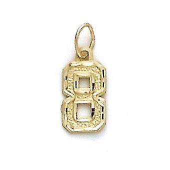 14k Yellow Gold Small Sport Number  Pendant - Number: 1 to 9