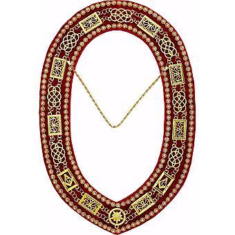 Grand Lodge - Rhinestones Chain Collar - Gold/Silver on Red Velvet