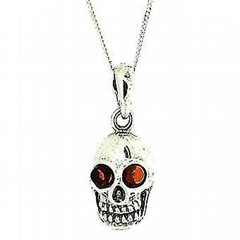 The Olivia Collection Sterling Silver Skull Cognac Amber Pendant on 18
