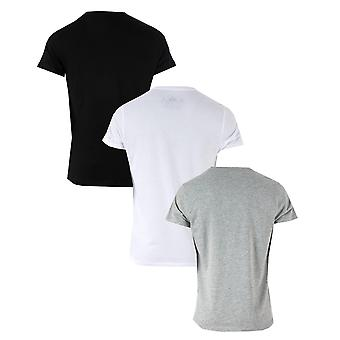 Mens Religion 3 Pack Core T-Shirts In Black Grey White- Set Comprises Of 3