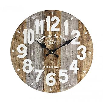 Meubles Rebecca Horloge Wall Watches Vintage Rustic Wood 34x34x4