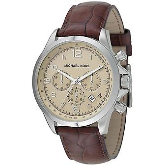 Michael Kors Watches Men's Brown Leather Chronograph Brown Mk8115