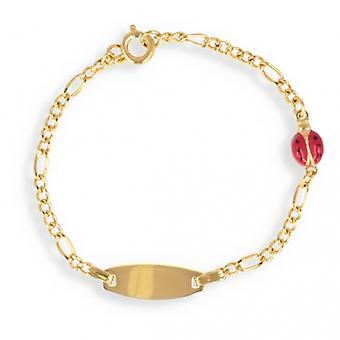 Bracelet Plaqué Or Enfant Coccinelle émaillée 15cm