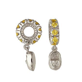 Storywheels Silver & Citrine Baby Shoe Dangle Charm S104C