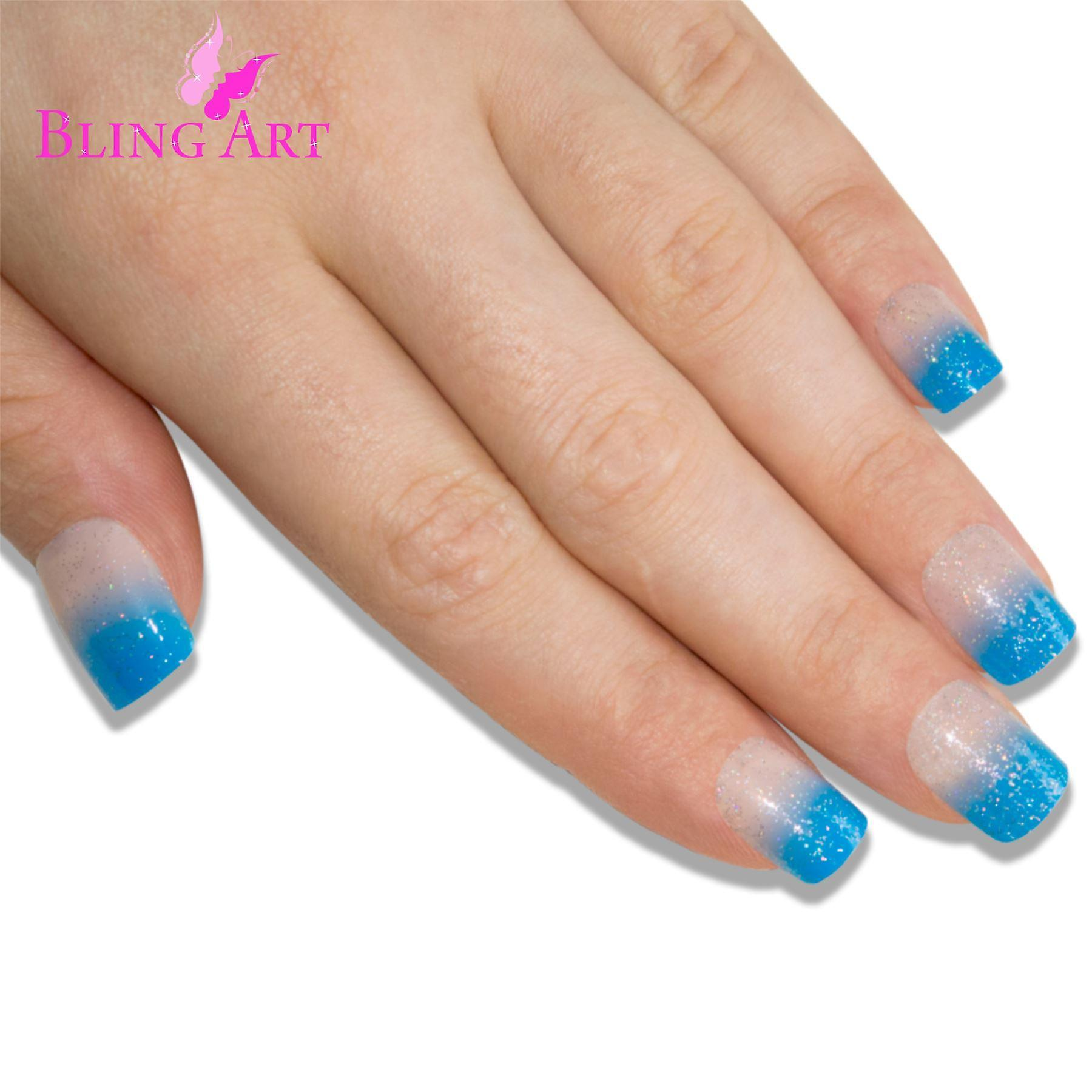 False nails by bling art blue sparkle french manicure fake medium tips with glue