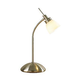 Agean touch tafel lamp antiek messing G9 compleet met opaal wit glas