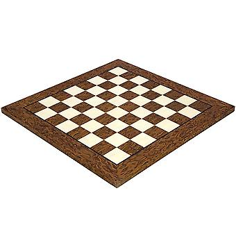 17.7 Inch Lacquered Cocoa Ash Burl and Erable Deluxe Chess Board