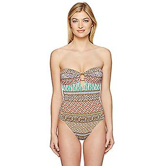 Trina Turk Women's Bandeau One Piece Swimsuit,, Brown, Size 14.0