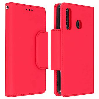 Magnetic Detachable Wallet Folio Case for Samsung Galaxy A50 - Red