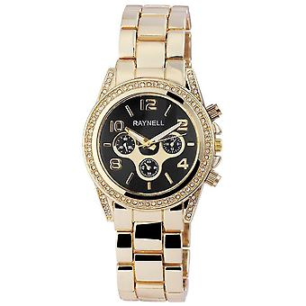 Raynell Ladies watch in black gold with crystals
