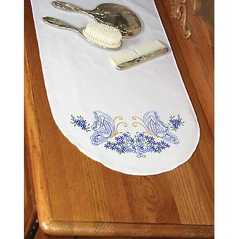 Cachet Perle bord commode foulard 15 « X 42 » Twin papillons 16219