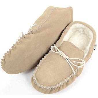 Mens Beige Suede / Sheepskin Wool Moccasins with Soft Sole - UK 9