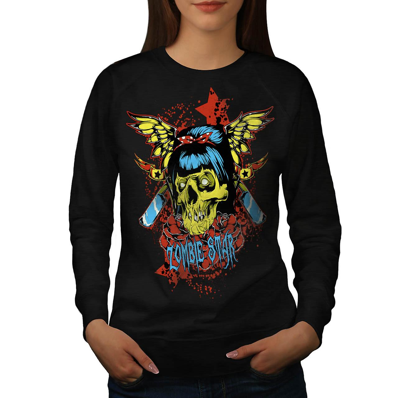 Zombie Star Horror Monster Skull Women Black Sweatshirt | Wellcoda