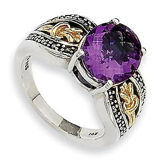 Sterling Silver With 14k 3.30Amethyst Ring - Ring Size: 6 to 8