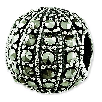 Sterling Silver Antique finish Reflections Marcasite Bead Charm