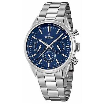 Festina Mens Stainless Steel Blue Dial Watch Chrono F16820/2