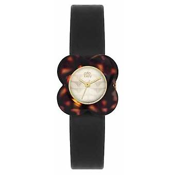 Orla Kiely Womans Tortoise Black Leather Strap OK2064 Watch